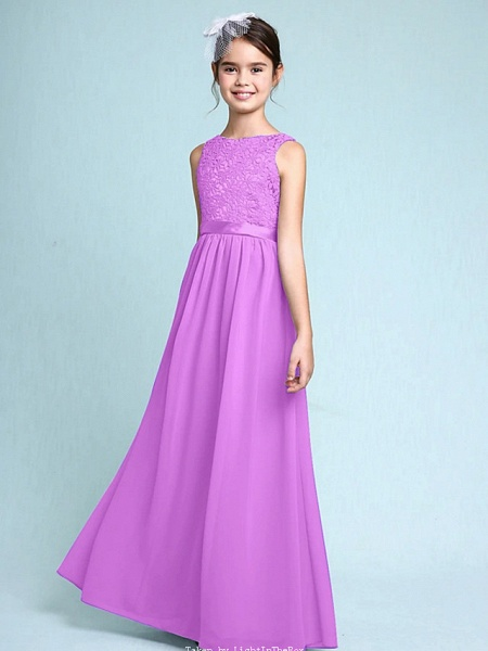 Sheath / Column Bateau Neck Floor Length Chiffon / Lace Junior Bridesmaid Dress With Lace / Natural_42