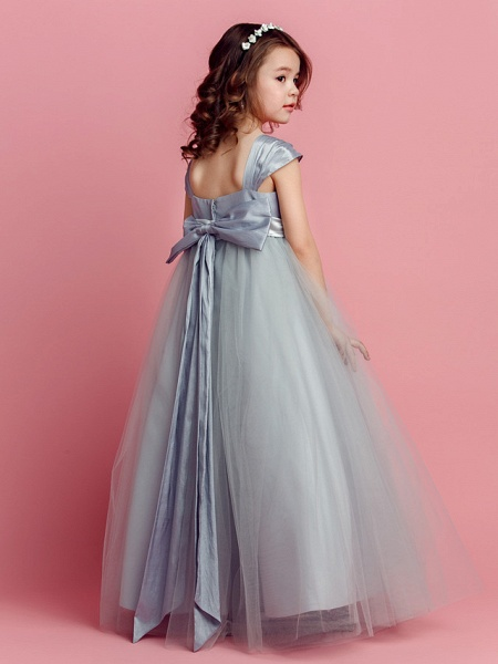 Ball Gown Floor Length Pageant Flower Girl Dresses - Taffeta / Tulle Short Sleeve Square Neck With Sash / Ribbon / Bow(S) / Spring / Summer / Fall_4