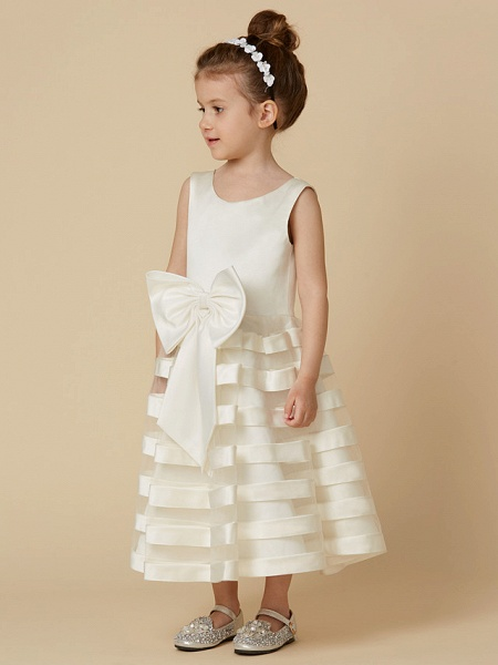 A-Line Tea Length Wedding / First Communion Flower Girl Dresses - Satin / Tulle Sleeveless Jewel Neck With Bow(S)_3