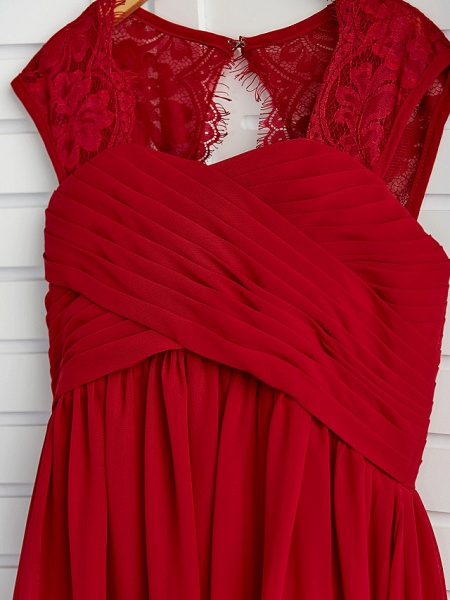 A-Line Square Neck Floor Length Chiffon Junior Bridesmaid Dress With Lace / Ruching_5