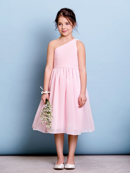 A-Line One Shoulder Knee Length Chiffon Junior Bridesmaid Dress With Ruched / Draping / Side Draping / Natural_2