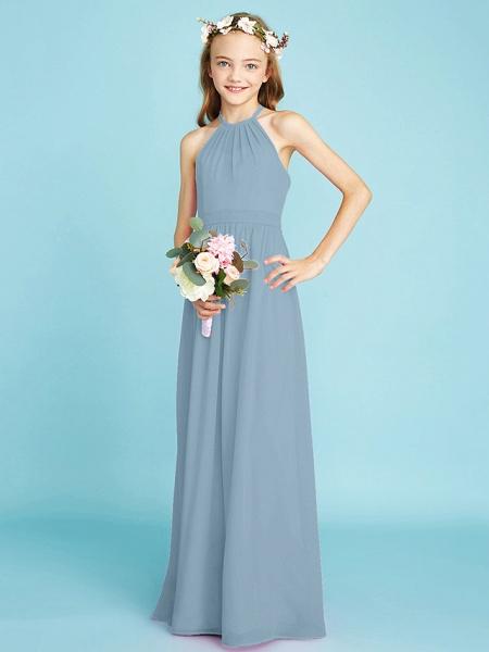 A-Line Halter Neck Floor Length Chiffon Junior Bridesmaid Dress With Sash / Ribbon / Natural_32