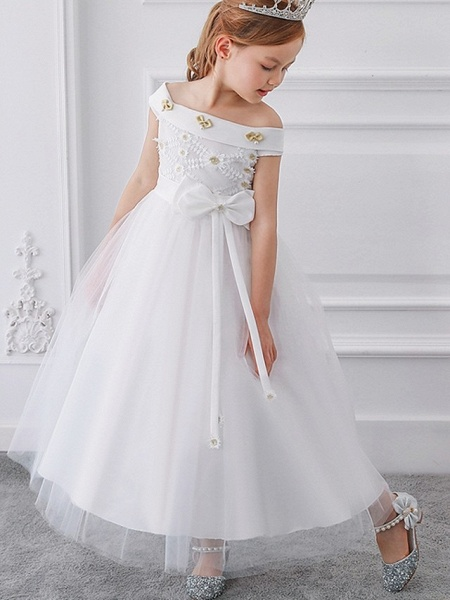Princess / Ball Gown Floor Length Wedding / Party Flower Girl Dresses - Tulle Short Sleeve Off Shoulder With Sash / Ribbon / Bow(S) / Appliques_5