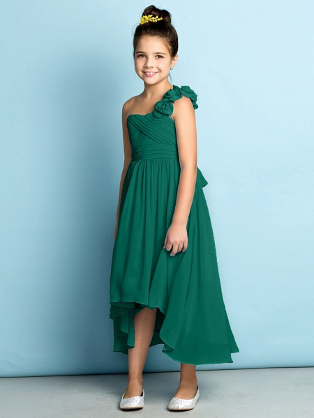 A-Line One Shoulder Asymmetrical Chiffon Junior Bridesmaid Dress With Criss Cross / Flower / Natural / Mini Me_29