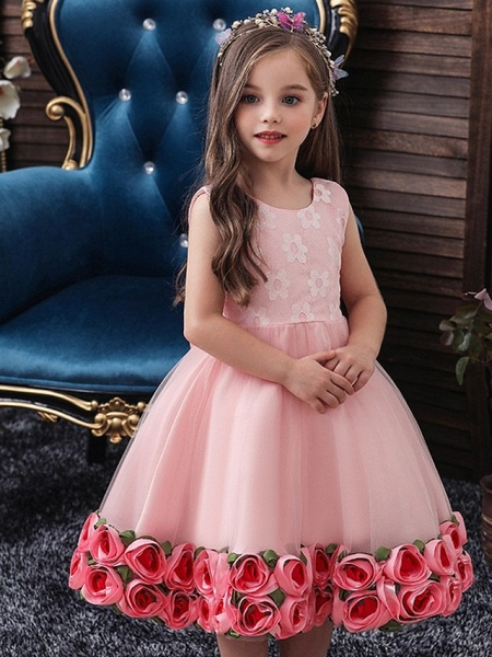 Princess / Ball Gown Knee Length Wedding / Party Flower Girl Dresses - Tulle Sleeveless Jewel Neck With Bow(S) / Pattern / Print / Flower_3