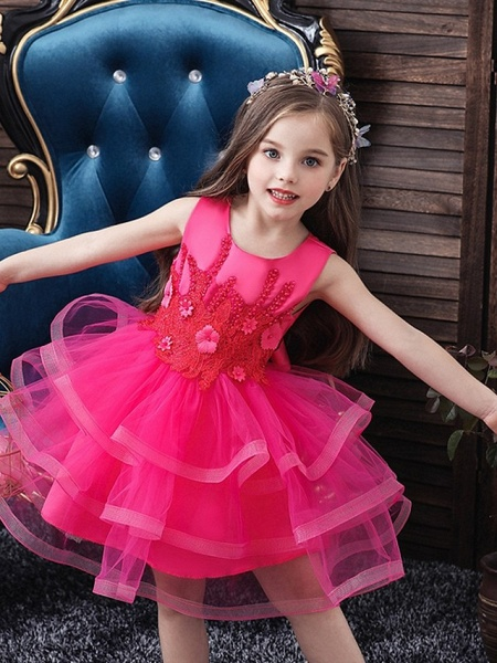 Princess / Ball Gown Knee Length Wedding / Party Flower Girl Dresses - Tulle Sleeveless Jewel Neck With Bow(S) / Appliques / Cascading Ruffles_4