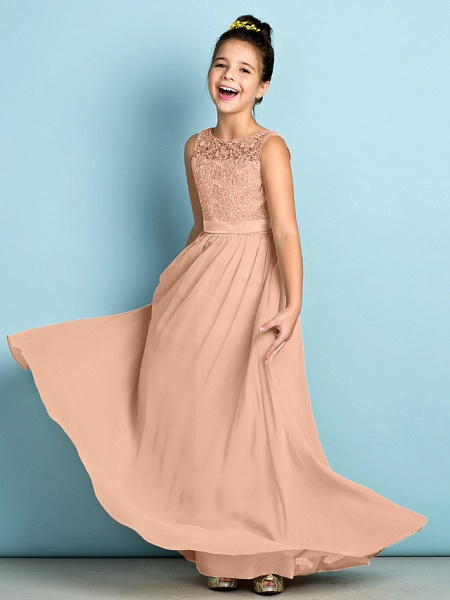 A-Line Scoop Neck Floor Length Chiffon / Lace Junior Bridesmaid Dress With Lace / Natural / Mini Me_13