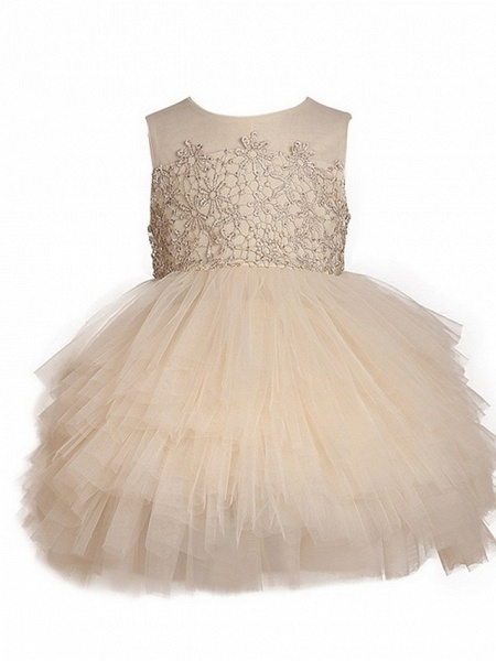 Ball Gown Knee Length Pageant Flower Girl Dresses - Polyester Sleeveless Jewel Neck With Pick Up Skirt / Appliques_1