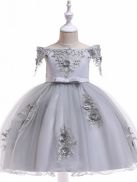 Princess / Ball Gown Knee Length Wedding / Party Flower Girl Dresses - Satin / Tulle Short Sleeve Off Shoulder With Sash / Ribbon / Bow(S) / Appliques_7