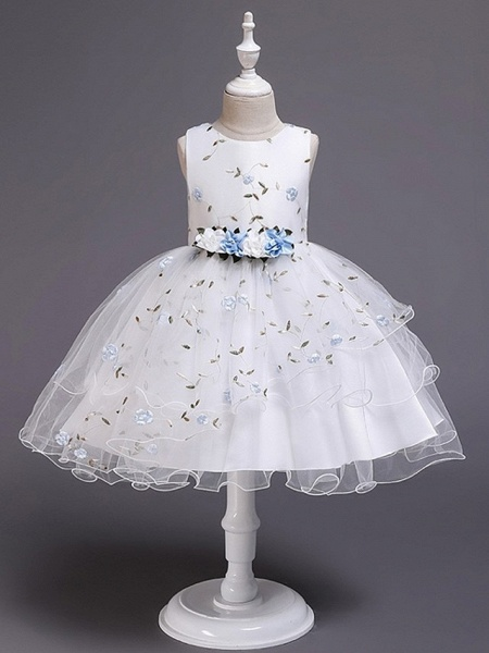 Princess / Ball Gown Knee Length Wedding / Party Flower Girl Dresses - Satin / Tulle Sleeveless Jewel Neck With Bow(S) / Flower_5