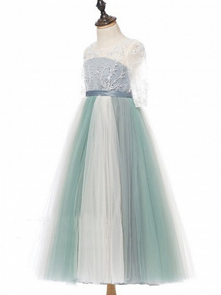 Princess / A-Line Floor Length Wedding / Party Flower Girl Dresses - Lace / Tulle Half Sleeve Jewel Neck With Bows / Paillette_5