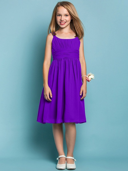 Sheath / Column Straps Knee Length Chiffon Junior Bridesmaid Dress With Ruched / Draping / Spring / Summer / Fall / Apple / Hourglass_36