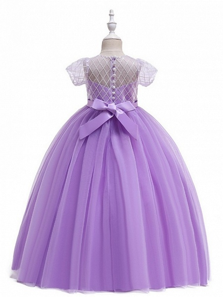 Ball Gown Round Floor Length Cotton Junior Bridesmaid Dress With Bow(S) / Appliques_6