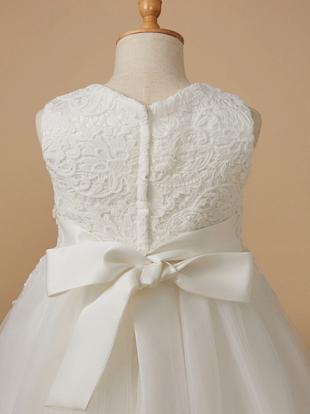 Ball Gown Knee Length Wedding / First Communion Flower Girl Dresses - Lace / Tulle Sleeveless Jewel Neck With Appliques_5