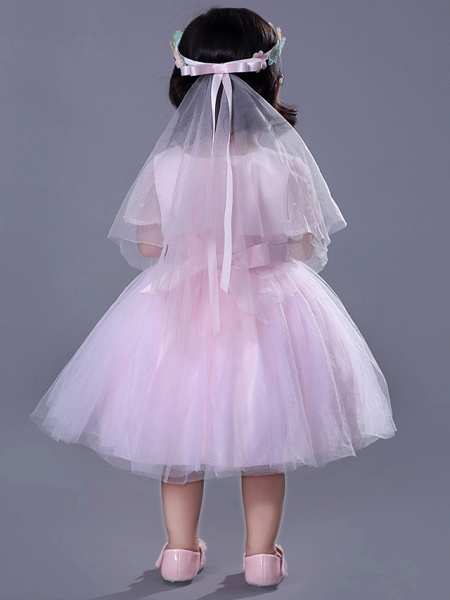 Ball Gown Royal Length Train / Medium Length Wedding / Party Flower Girl Dresses - Satin / Tulle Short Sleeve Jewel Neck With Beading / Appliques / Butterfly_7