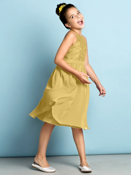 A-Line Jewel Neck Knee Length Chiffon / Lace Junior Bridesmaid Dress With Lace / Natural / Mini Me_37