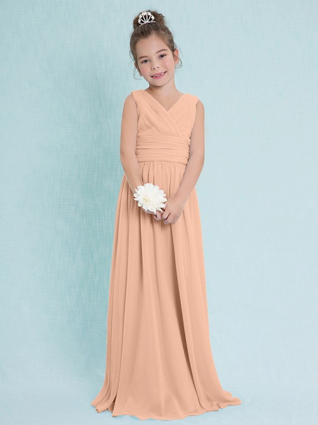 Sheath / Column V Neck Floor Length Chiffon Junior Bridesmaid Dress With Criss Cross / Ruched / Natural_11