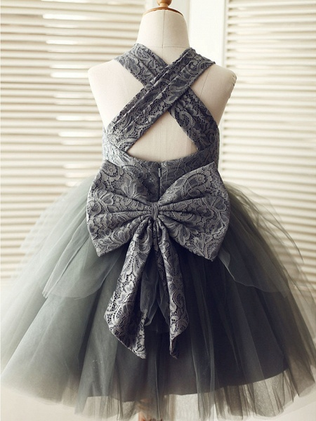 Ball Gown Knee Length Wedding / Birthday / Pageant Flower Girl Dresses - Lace / Tulle Sleeveless Square Neck With Bows_2
