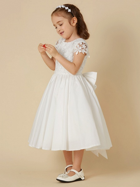 A-Line Knee Length Wedding / First Communion Flower Girl Dresses - Lace / Cotton Short Sleeve Scoop Neck With Bow(S)_3