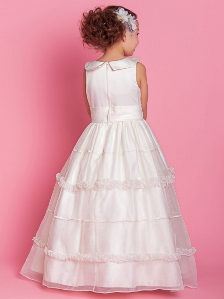 Ball Gown / A-Line Floor Length First Communion / Wedding Party Organza / Satin Sleeveless Jewel Neck With Buttons / Ruched / Ruffles / Spring / Fall / Winter_3