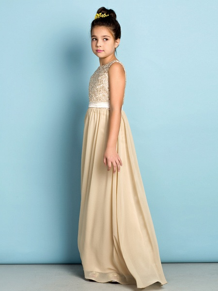 A-Line Scoop Neck Floor Length Chiffon / Lace Junior Bridesmaid Dress With Lace / Natural / Mini Me_4