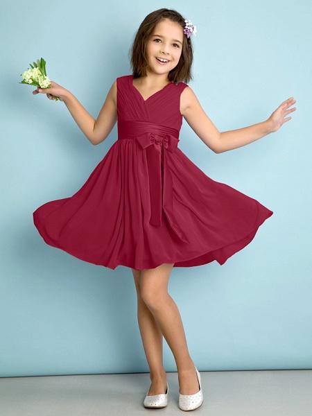 A-Line V Neck Knee Length Chiffon Junior Bridesmaid Dress With Bow(S) / Criss Cross / Natural_14