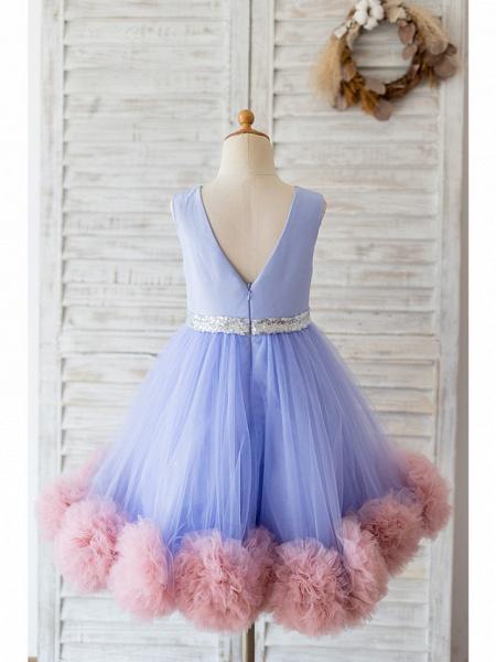 Ball Gown Knee Length Wedding / Birthday Flower Girl Dresses - Satin / Tulle Sleeveless Jewel Neck With Belt / Ruffles_2