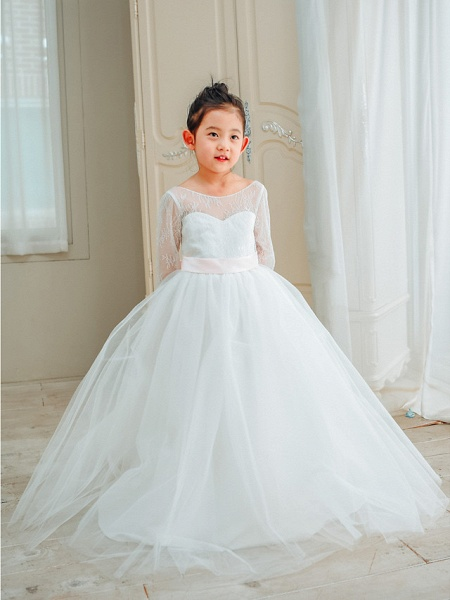 Ball Gown Floor Length Wedding / First Communion / Birthday Flower Girl Dresses - Lace / Tulle Long Sleeve Boat Neck With Bows / Belt_1