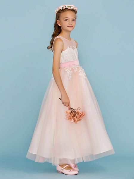 Princess / A-Line Jewel Neck Ankle Length Lace / Tulle Junior Bridesmaid Dress With Sash / Ribbon / Appliques / Wedding Party / Open Back_4