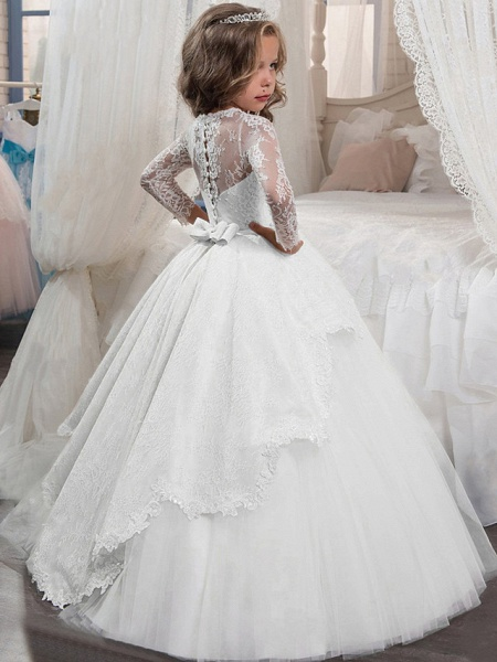 Princess Floor Length Christmas / Birthday / First Communion Flower Girl Dresses - Chiffon / Lace / Tulle Long Sleeve Jewel Neck With Lace / Crystals / Rhinestones_2