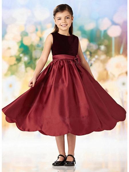 A-Line Ankle Length Wedding / Party Flower Girl Dresses - Satin / Velvet Sleeveless Jewel Neck With Ruching_2
