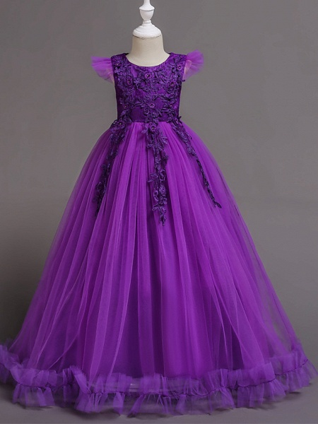 A-Line Floor Length Wedding / Party / Pageant Flower Girl Dresses - Tulle / Polyester Short Sleeve Jewel Neck With Bow(S) / Butterfly_12