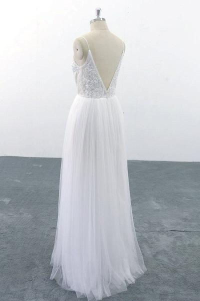 SD1955 Spaghetti Strap Pearls Boho Wedding Dress_2