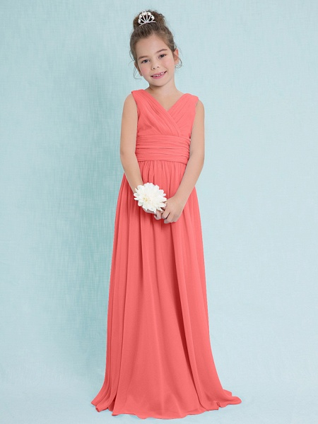 Sheath / Column V Neck Floor Length Chiffon Junior Bridesmaid Dress With Criss Cross / Ruched / Natural_12