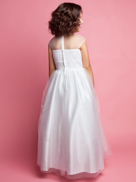 Princess / A-Line Floor Length Wedding / First Communion Tulle Sleeveless Jewel Neck With Ruched / Beading / Appliques_4