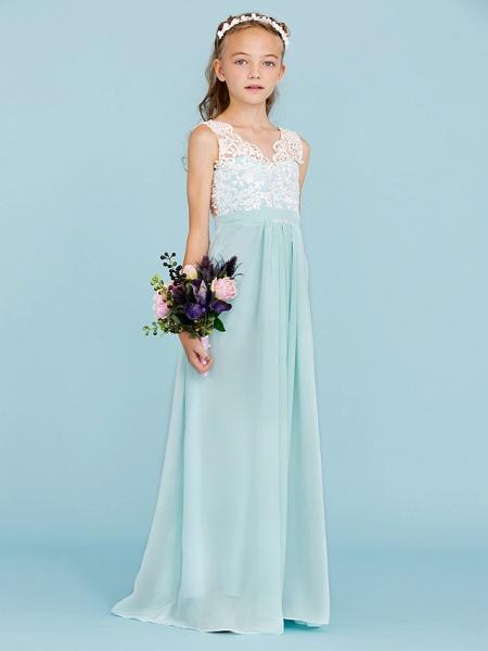 Sheath / Column V Neck Floor Length Chiffon / Lace Junior Bridesmaid Dress With Sash / Ribbon / Pleats / Color Block / Wedding Party / Open Back_4