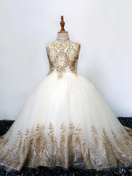 Princess Sweep / Brush Train Wedding / Birthday / Pageant Flower Girl Dresses - Tulle Sleeveless High Neck With Crystals / Rhinestones_1