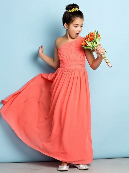 A-Line One Shoulder Ankle Length Chiffon Junior Bridesmaid Dress With Side Draping / Natural / Mini Me_4