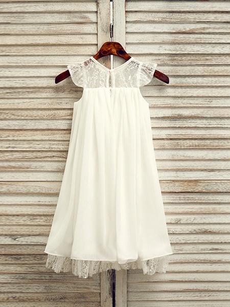 A-Line Tea Length Wedding / First Communion / Holiday Flower Girl Dresses - Lace / Satin Chiffon Sleeveless Jewel Neck With Sash / Ribbon_3