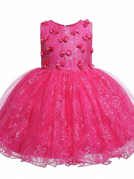 Princess / Ball Gown Knee Length Wedding / Party Flower Girl Dresses - Tulle Sleeveless Jewel Neck With Bow(S) / Appliques_3