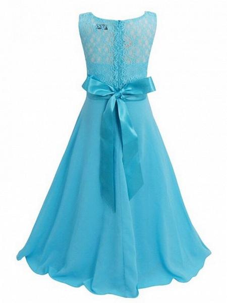 A-Line Floor Length Wedding / Party Flower Girl Dresses - Chiffon / Lace Sleeveless Jewel Neck With Sash / Ribbon_12