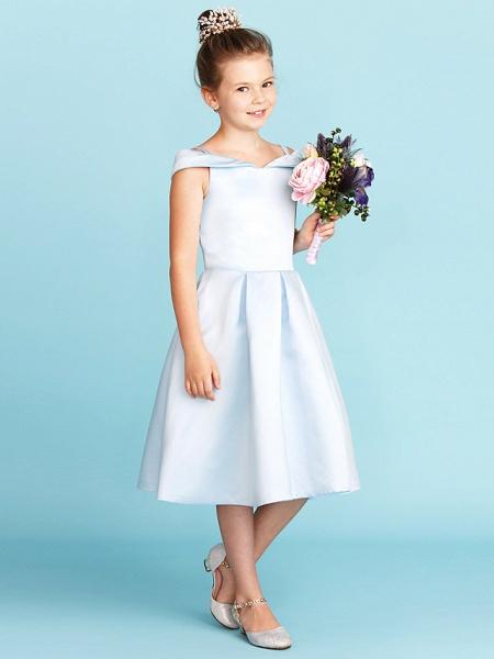 Princess / A-Line Off Shoulder Tea Length Satin Junior Bridesmaid Dress With Pleats_5
