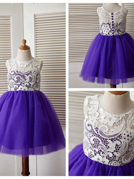 A-Line Knee Length Pageant Flower Girl Dresses - Lace / Tulle Sleeveless Jewel Neck With Lace / Pleats_9