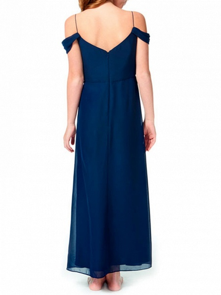 A-Line Spaghetti Strap Ankle Length Chiffon Junior Bridesmaid Dress With Pleats_2