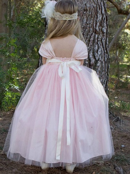 Ball Gown Floor Length Wedding / Party Flower Girl Dresses - Satin / Taffeta / Tulle Short Sleeve Scoop Neck With Bow(S) / Solid_2