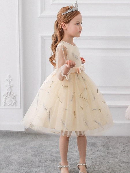 Princess / Ball Gown Knee Length Wedding / Party Flower Girl Dresses - Tulle Long Sleeve Jewel Neck With Sash / Ribbon / Bow(S) / Pattern / Print_4