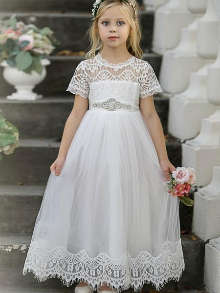Princess / A-Line Knee Length Wedding / Party Flower Girl Dresses - Lace / Tulle Short Sleeve Jewel Neck With Tier / Solid_1