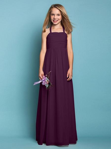 Sheath / Column Halter Neck Floor Length Chiffon Junior Bridesmaid Dress With Ruched / Spring / Summer / Fall / Apple / Hourglass_17