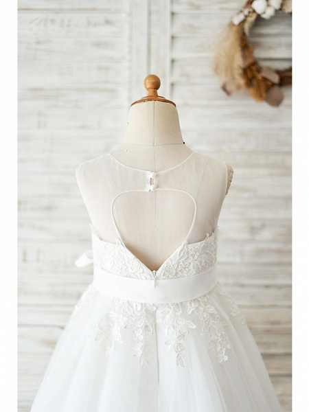 Ball Gown Knee Length Wedding / Birthday Flower Girl Dresses - Lace / Tulle Sleeveless Jewel Neck With Lace / Belt_4