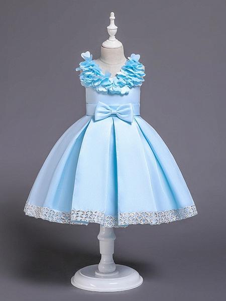 Princess Knee Length Wedding / Party / Pageant Flower Girl Dresses - Satin / Cotton Sleeveless Jewel Neck With Petal / Belt / Bow(S)_4
